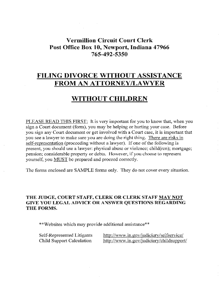 Help with filing divorce papers indiana without an attorney