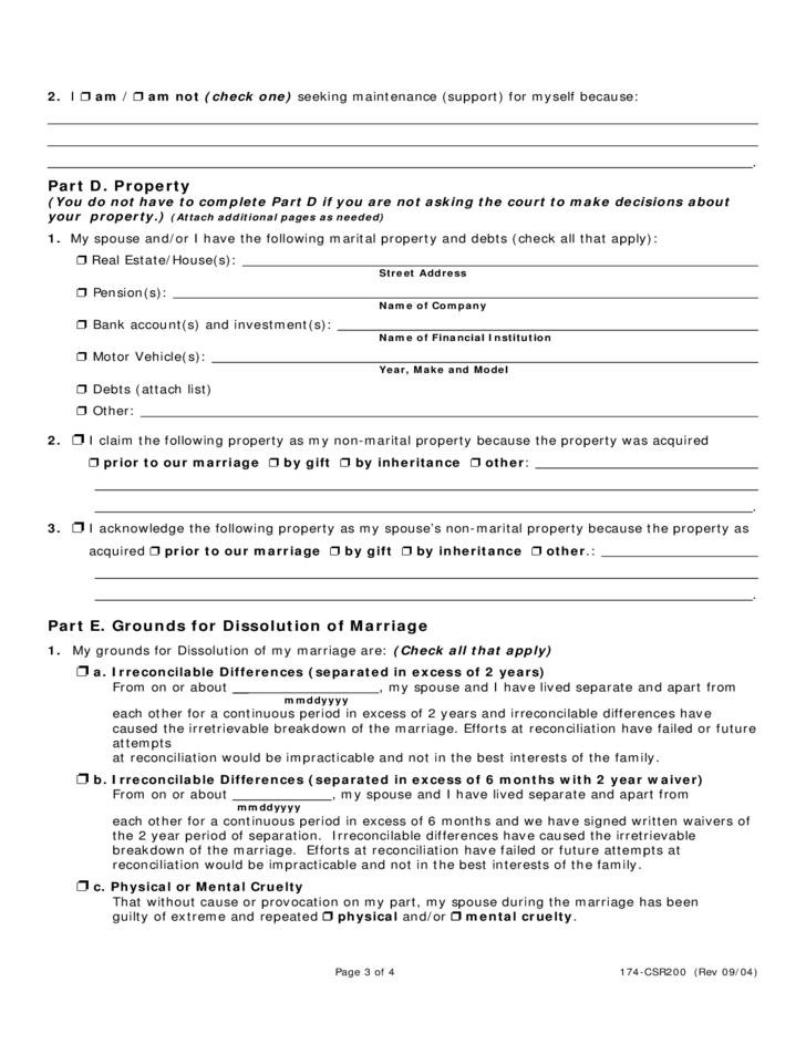 petition for dissolution of marriage - illinois free download