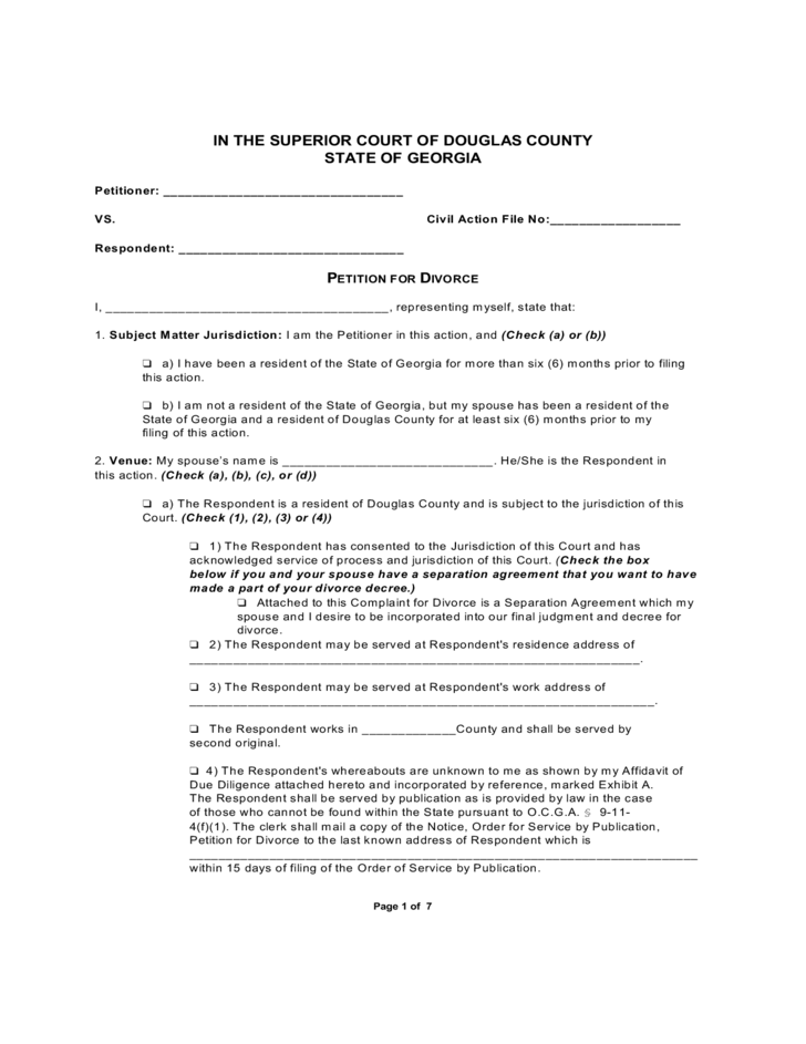 Lease Vs Rent >> Petition for Divorce - Georgia Free Download