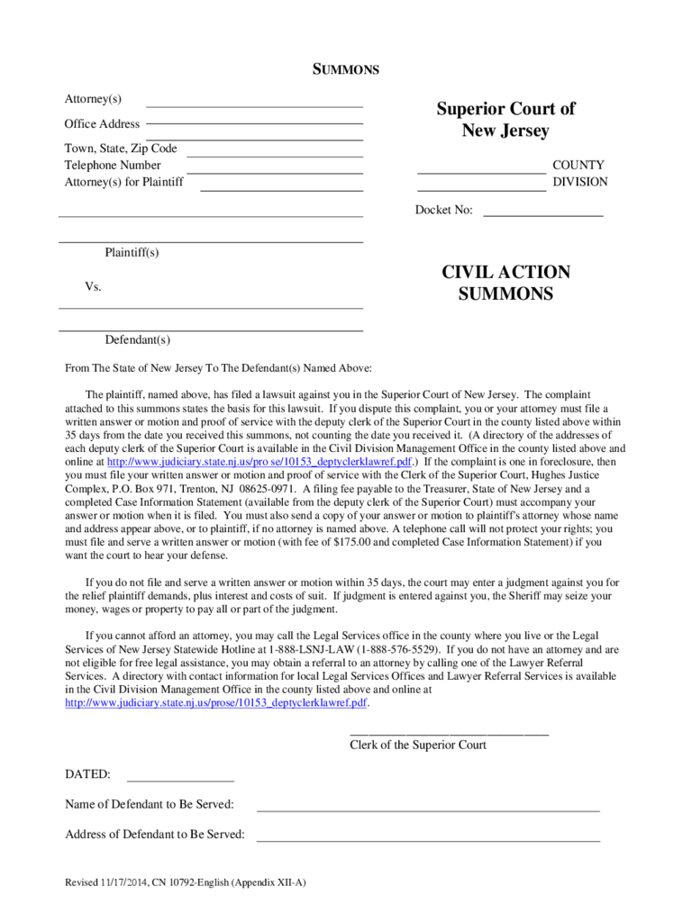 Summons Example - New Jersey