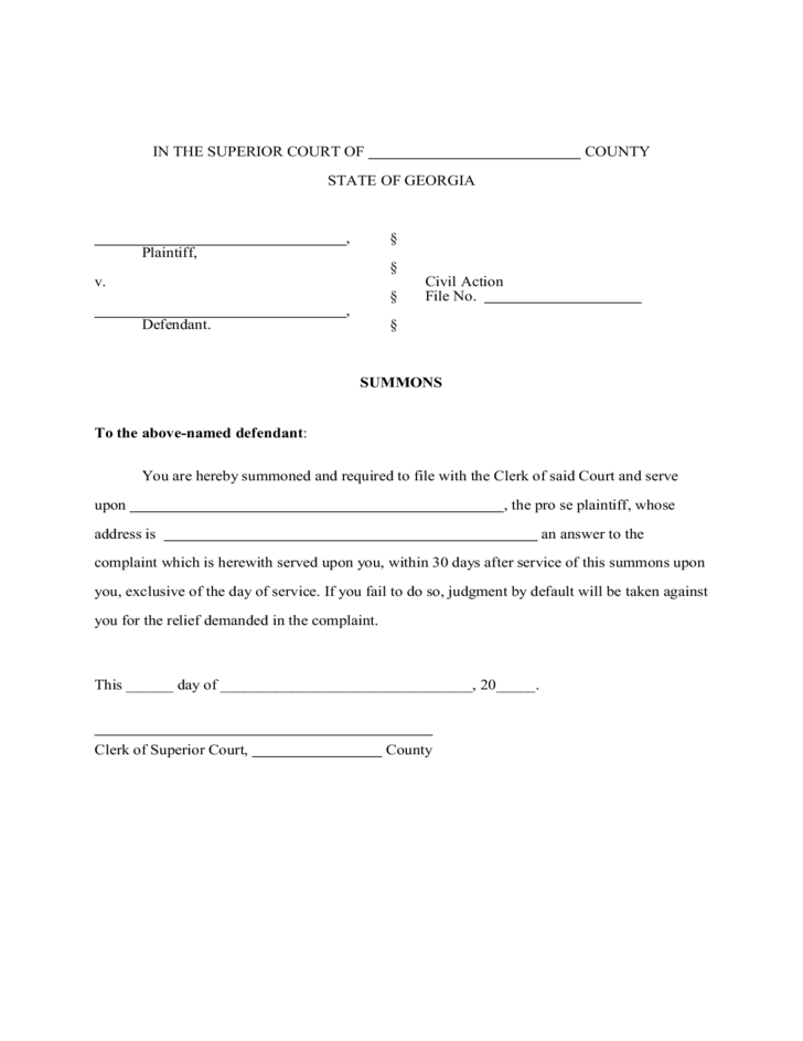 Doc12751650 Civil Summons Form Form AO 440 Summons in a Civil – Civil Summons Form