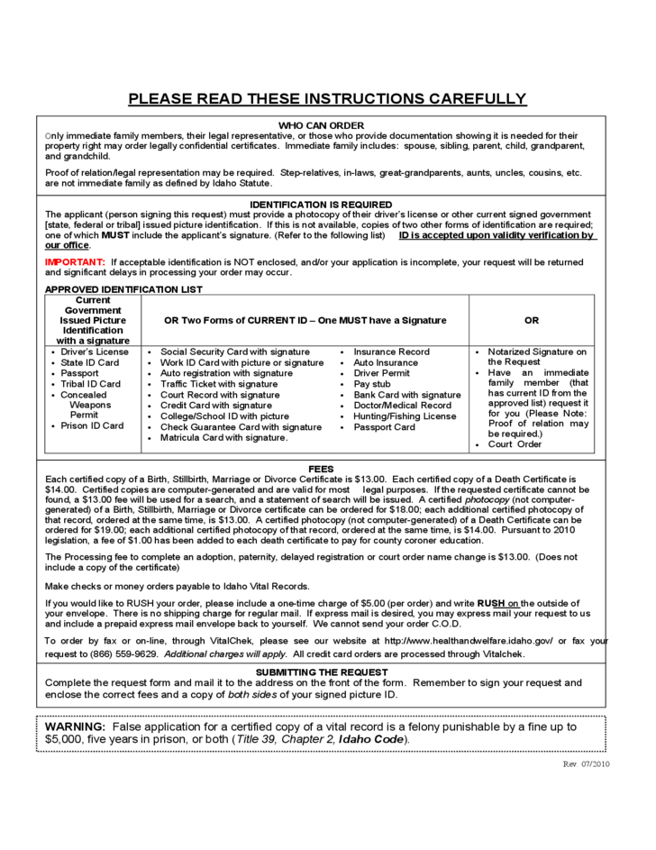 vital statistics certificate request - idaho free download