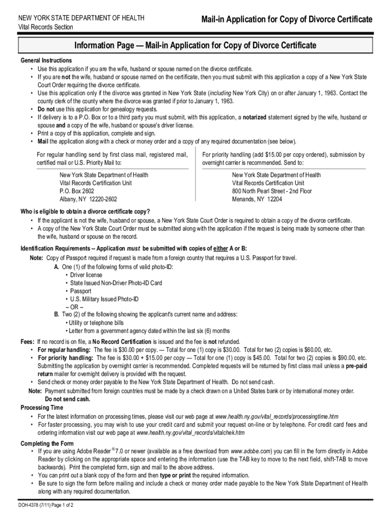 Mail-in Application for Copy of Divorce Certificate