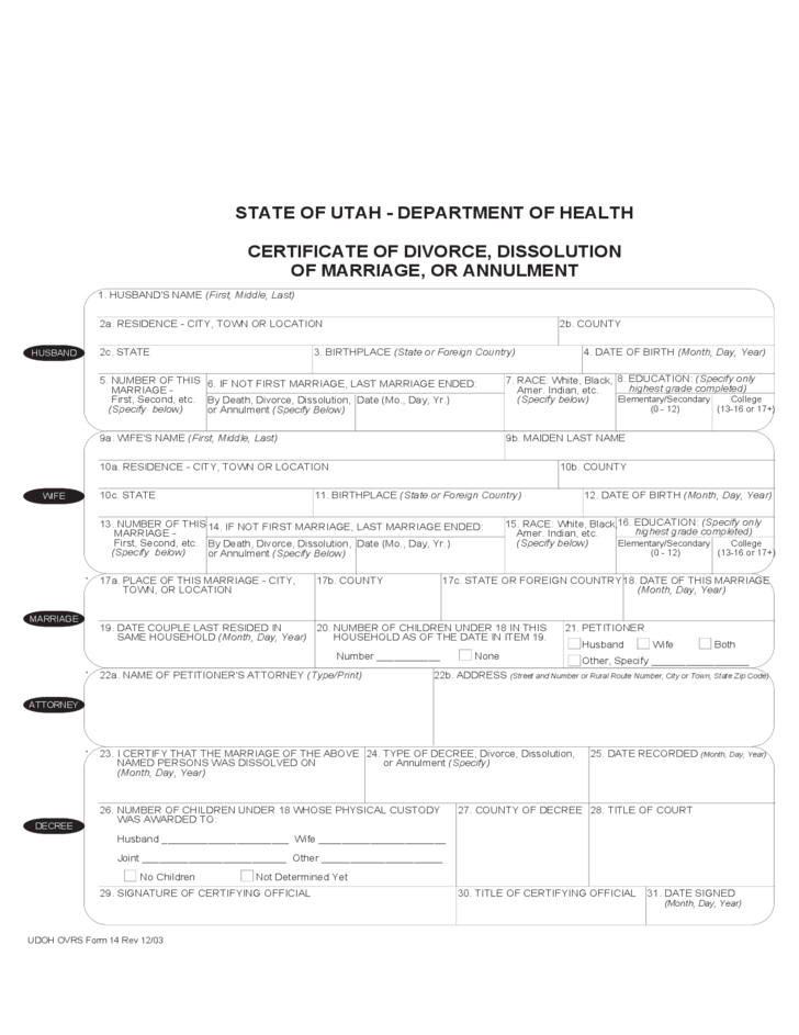 Certificate Of Divorce And Dissolution Of Marriage Or Annulment Free
