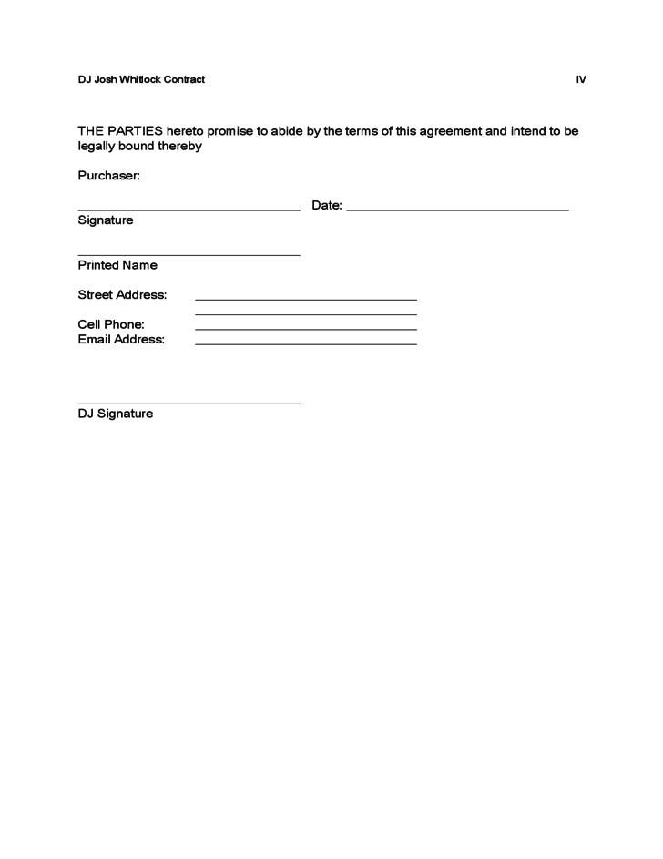 Sample DJ Contract Free Download – Dj Contract Template