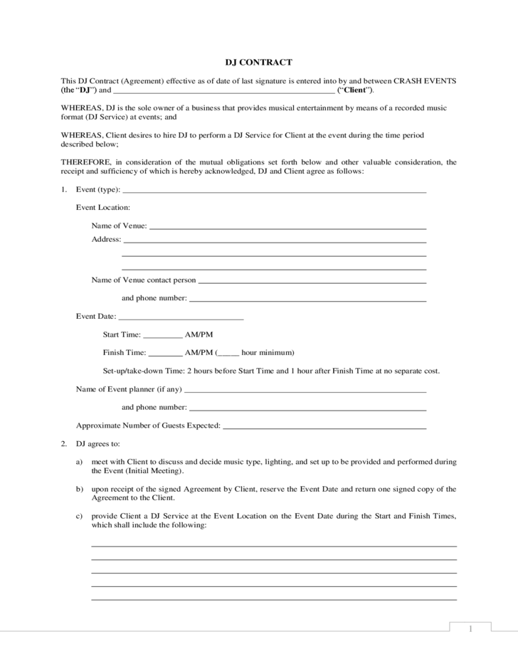 standard dj contract free download