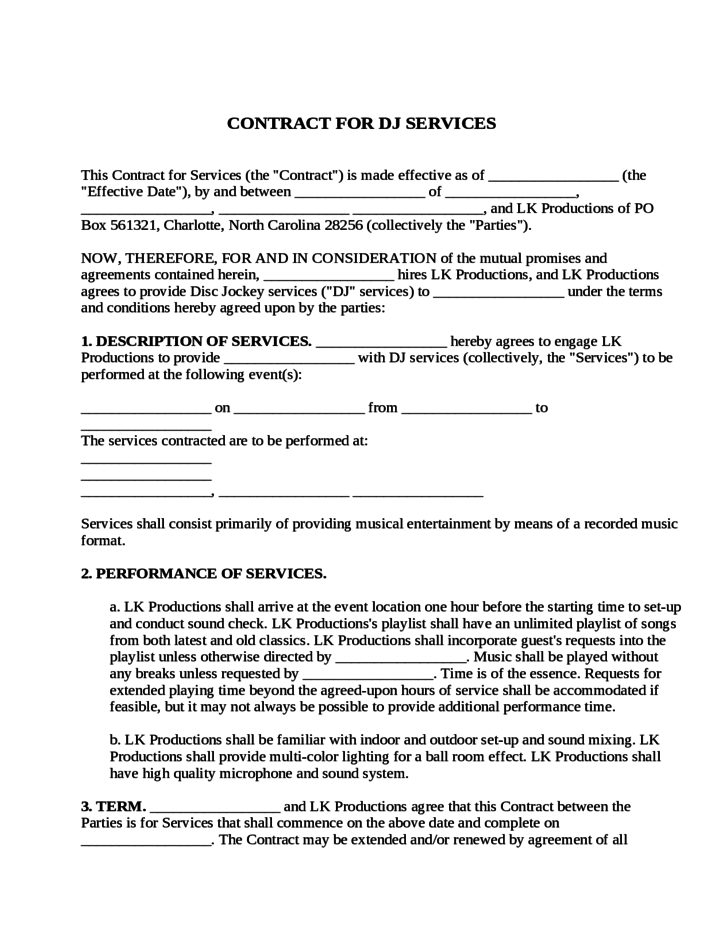 dj service contract template - Free Dj Contract Template