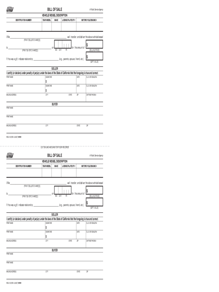 Bill of Sale - State of California Free Download