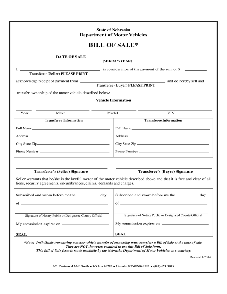 DMV Bill of Sale Form - Nebraska