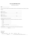 DMV Bill of Sale Form - New York Free Download