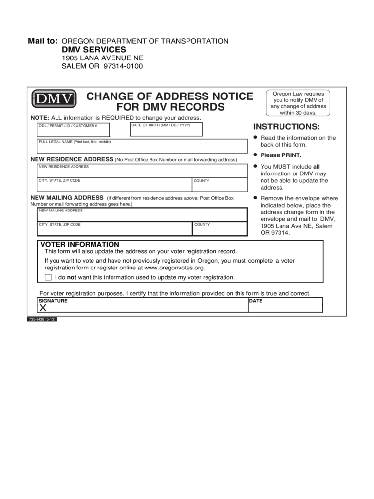 DMV Change of Address Form - 16 Free Templates in PDF, Word, Excel ...