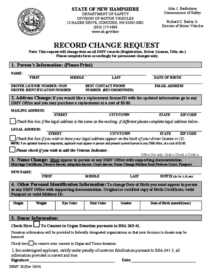 DMV Record Change Request Form New Hampshire Free Download – Dmv Change of Address Forms