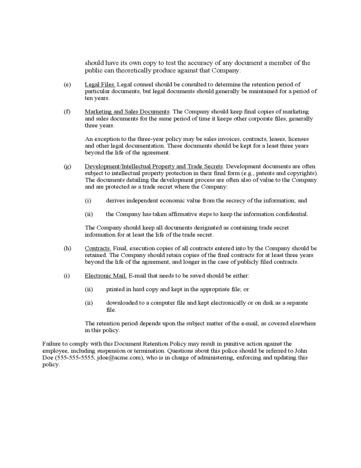 Sample Document Retention Policy