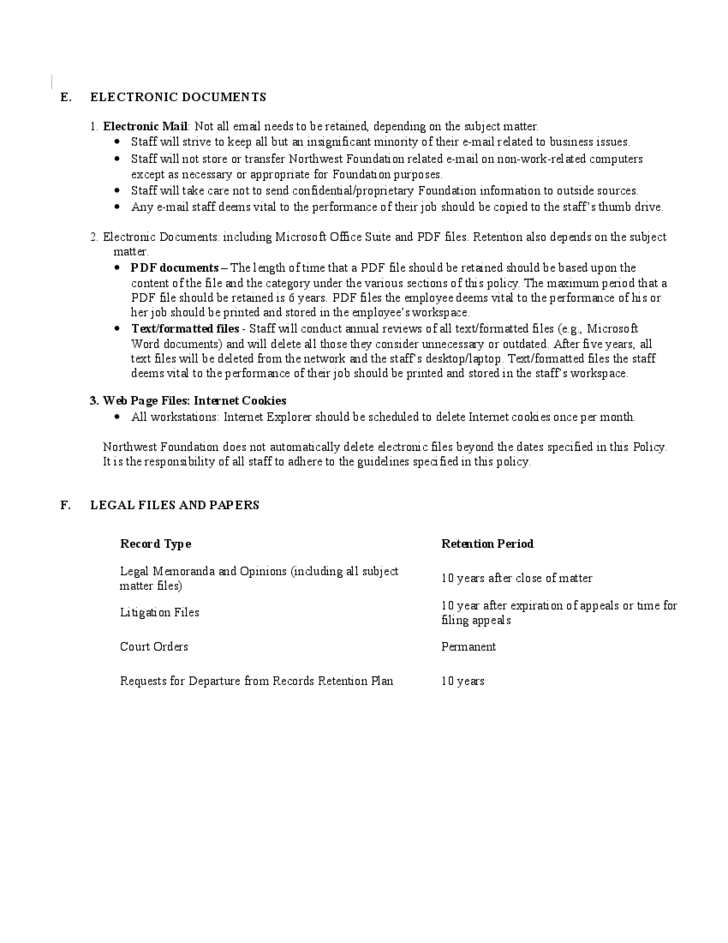 Document Retention Policy Sample Free Download