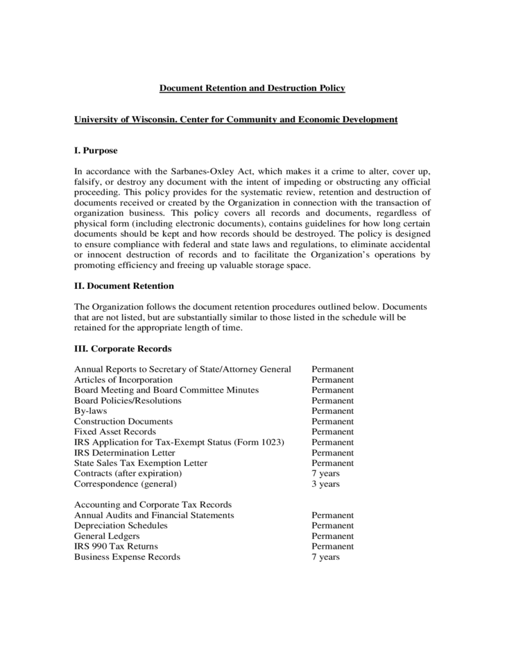 sample document retention and destruction policy free download