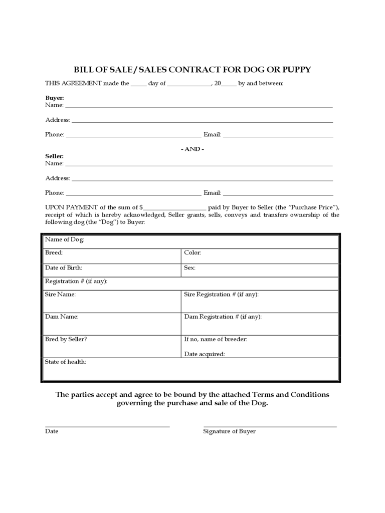 Dog Bill of Sale Form - 5 Free Templates in PDF, Word ...