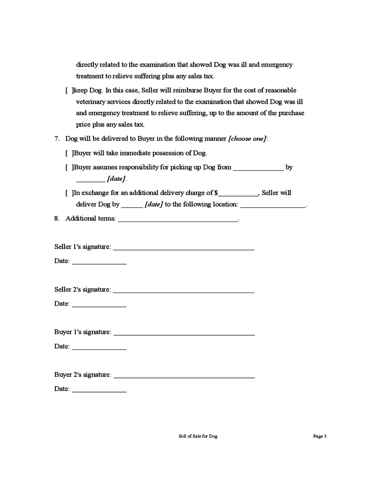 bill of sale for dog form free download