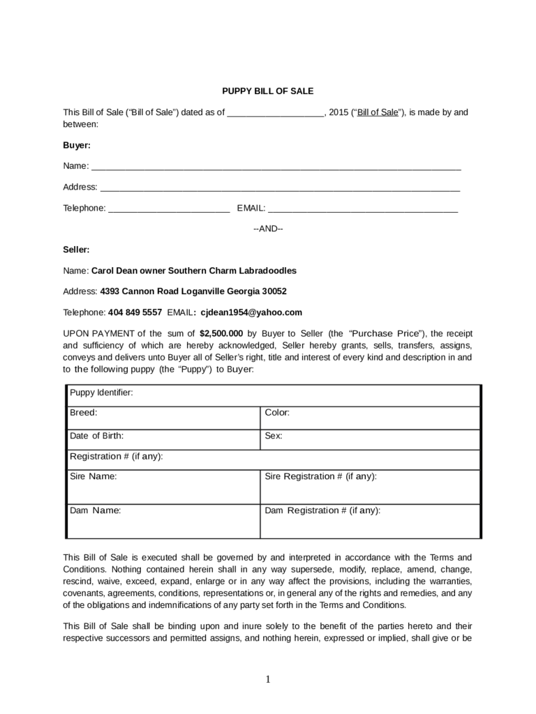 Dog bill of sale form 5 free templates in pdf word excel download for Free bill of sale ga