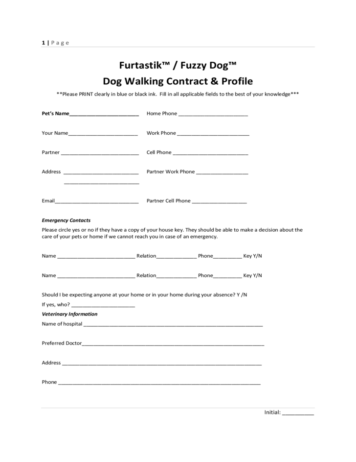 Key Release Form Dog Walking