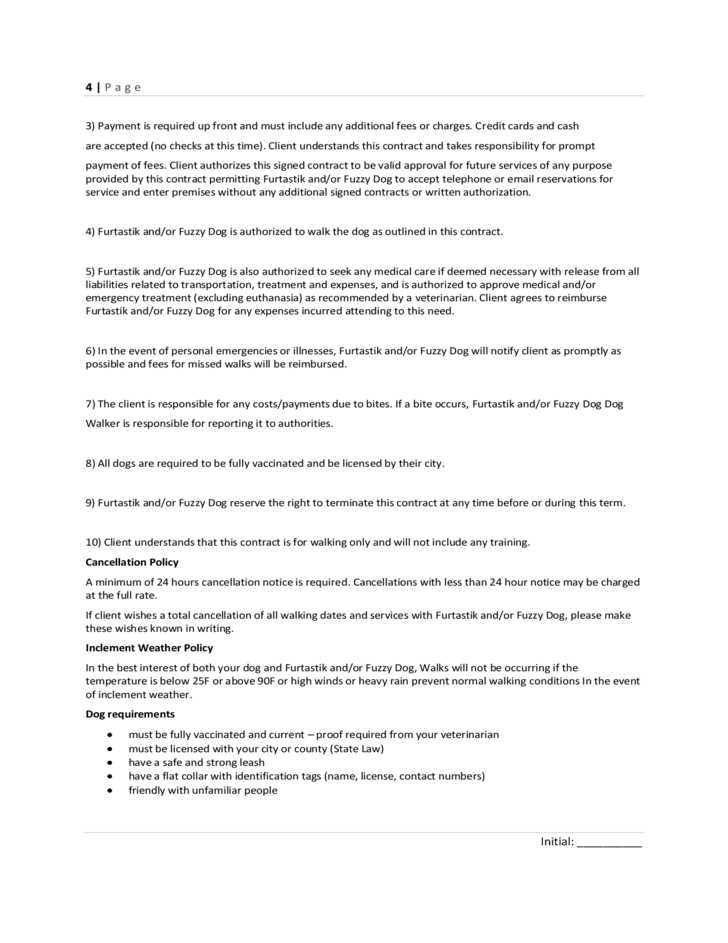 Dog Walking Contract Amp Profile Free Download