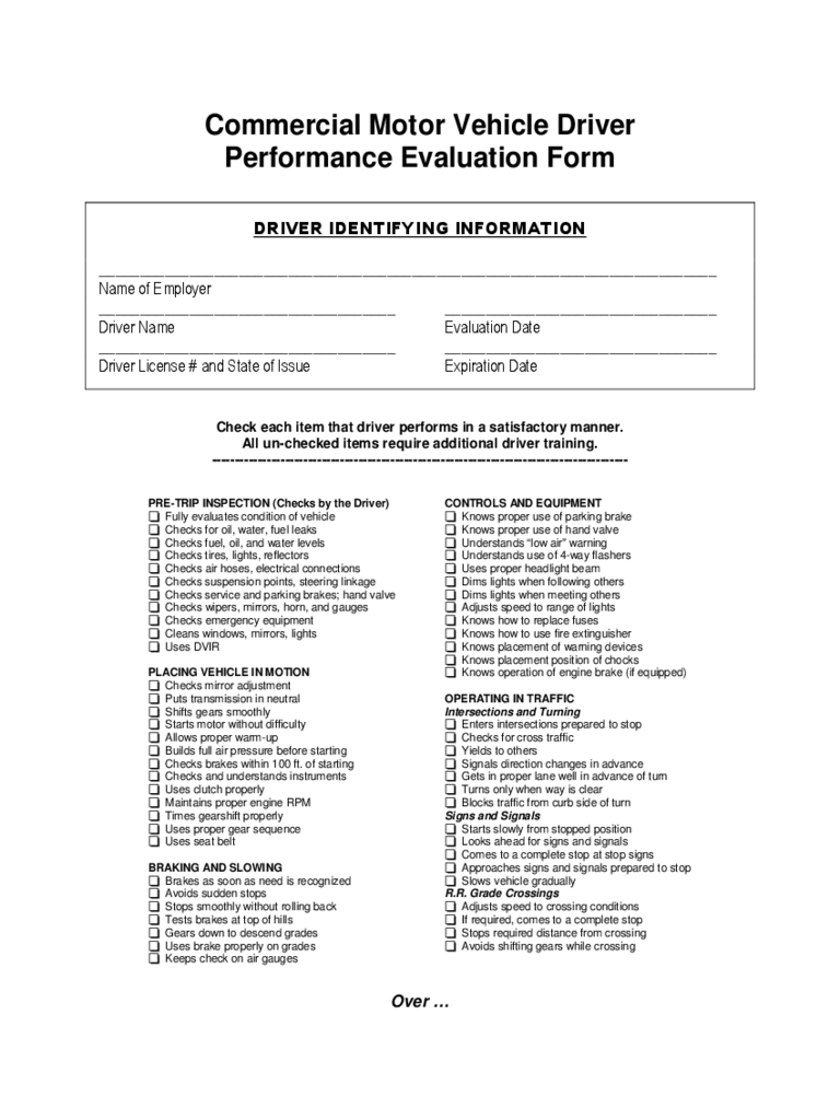 Driver Evaluation Form - 2 Free Templates in PDF, Word ...