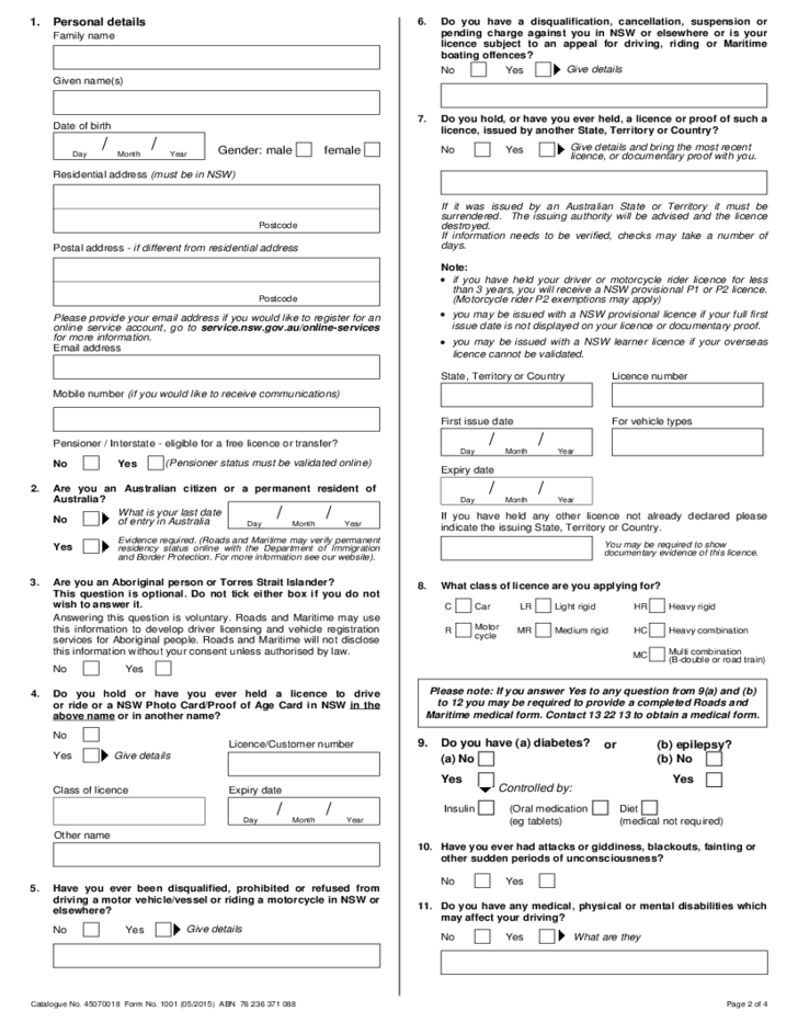 Driving Licence Application Form - New South Wales Free Download