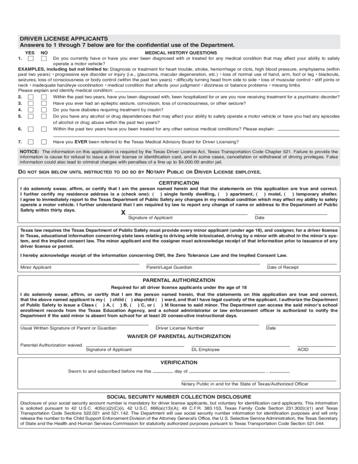 Driving Licence Application Form - Texas Free Download