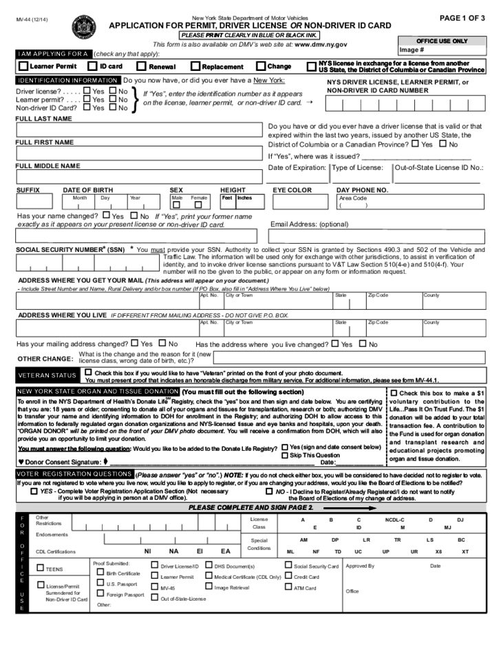 Application for Permit, Driver License or Non-driver ID Card - New ...
