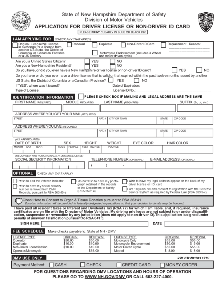 Application for Driver License - New Hampshire Free Download