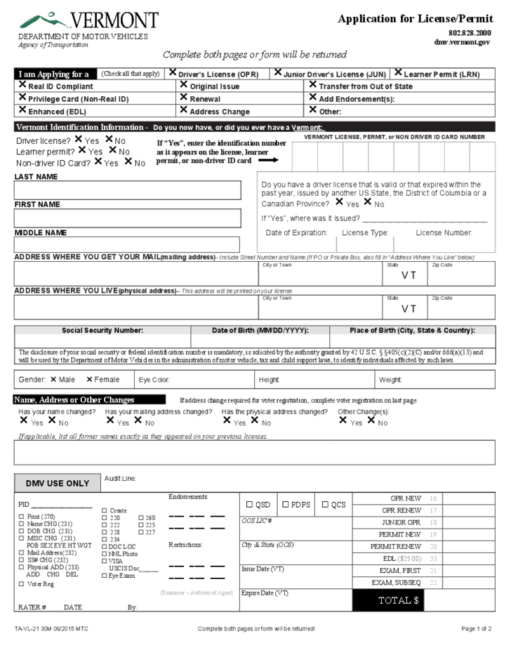 Application for License/Permit - Vermont Free Download