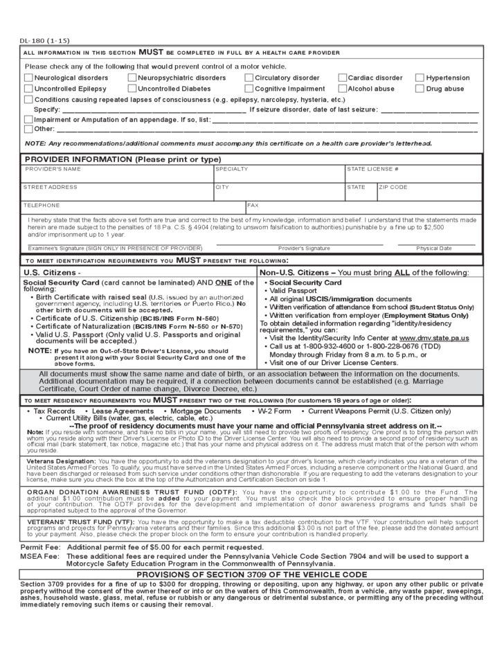 Non-Commercial Learner's Permit Application - Pennsylvania Free ...