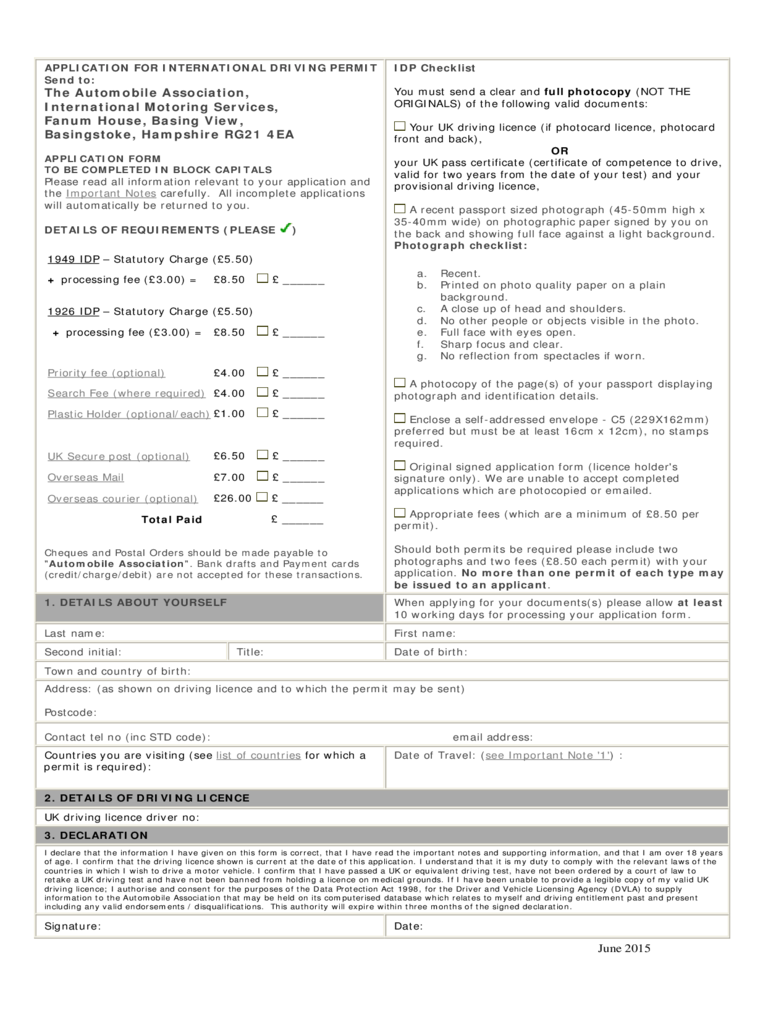 Application for International Driving Licence