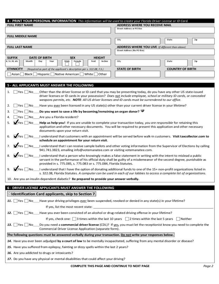 Application for driver license or id card florida free for Documents required for driving license