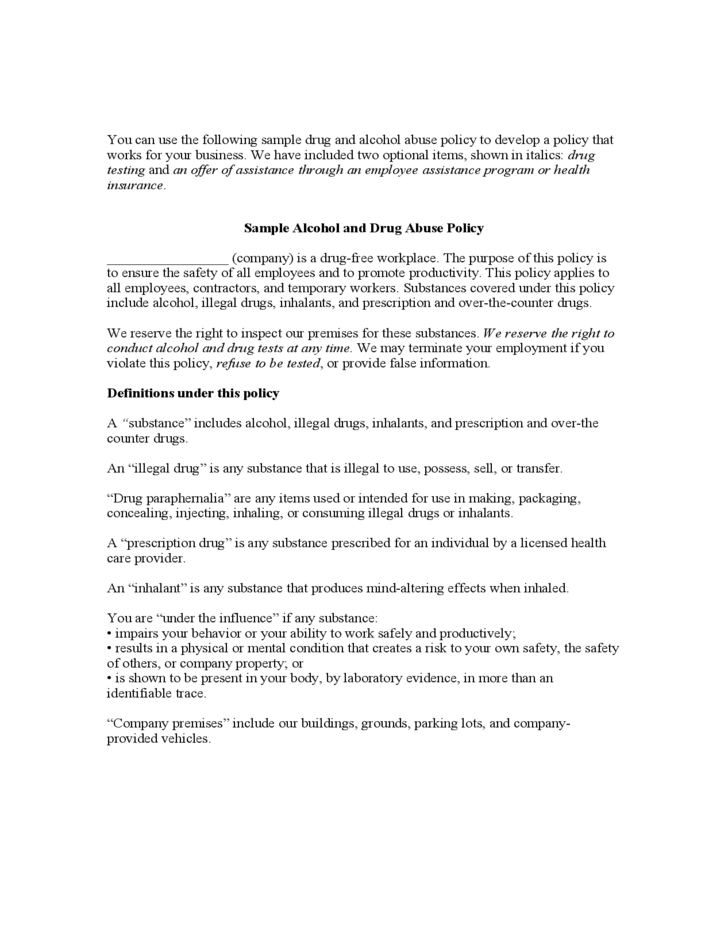 Sample alcohol and drug abuse policy free download for Drug free workplace policy template