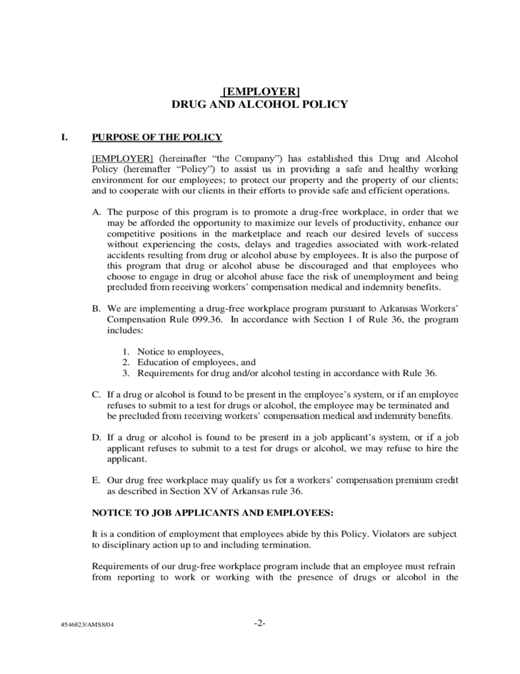 Sample drug and alcohol policy free download for Drug free workplace policy template