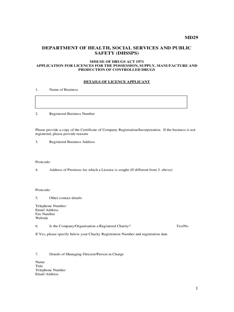 Drug Licence Application Form - UK