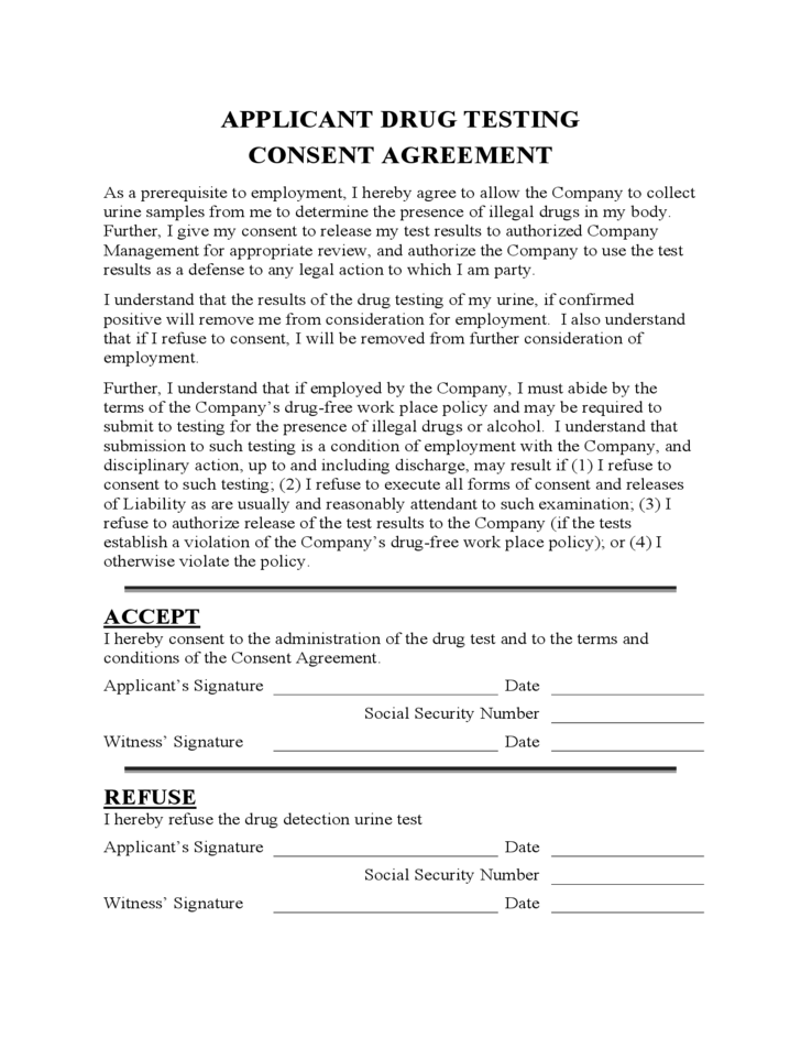 applicant drug testing consent agreement free download