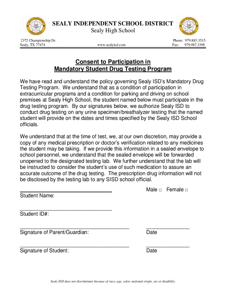 Consent to Participation in Mandatory Student Drug Testing Program Form