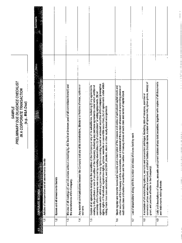 Due Diligence Checklist Template 2 Free Templates in PDF Word – Due Diligence Checklist Template
