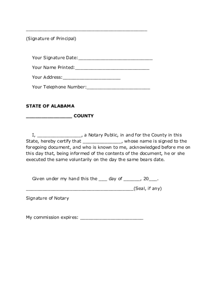 Durable Power of Attorney Form - Alabama
