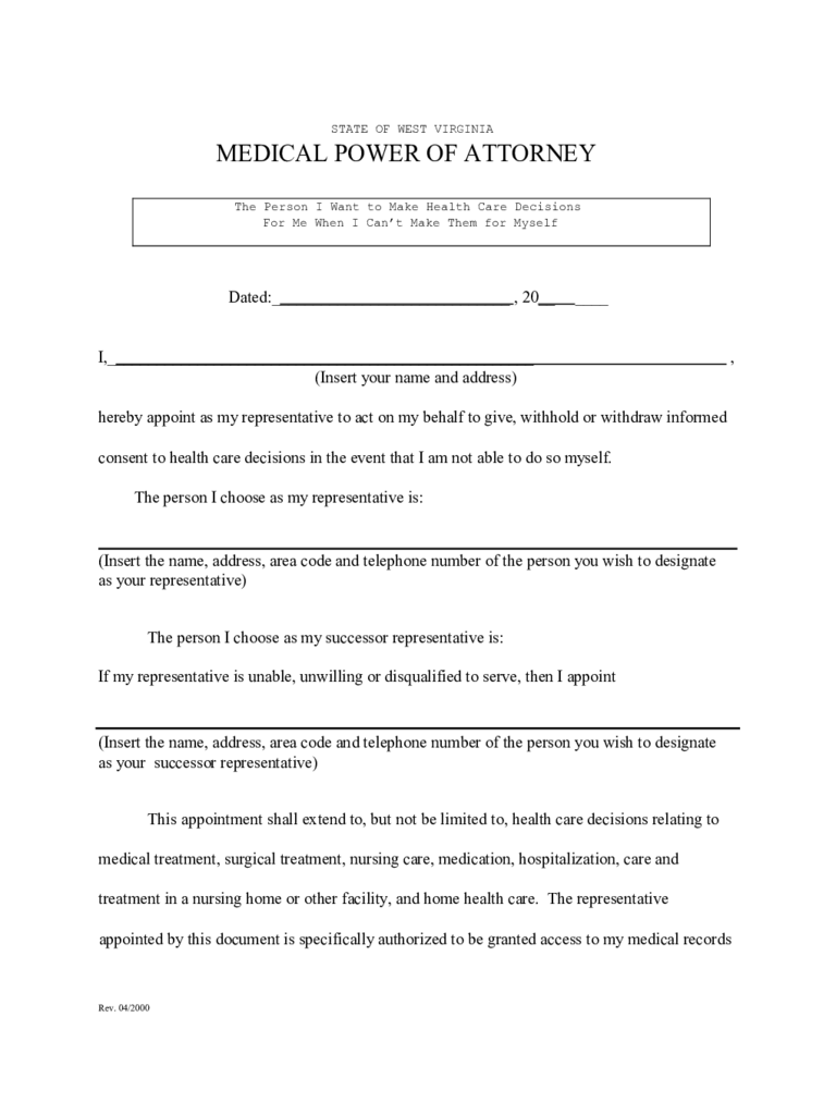 West virginia power of attorney form free templates in pdf word medical power of attorney west virginia falaconquin