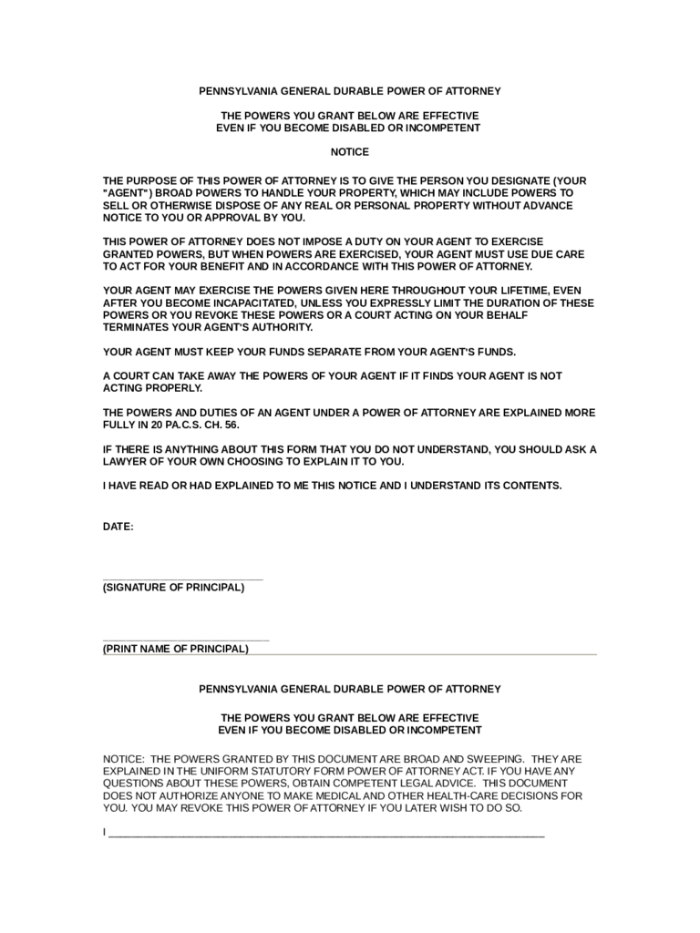 general power of attorney form download pdf