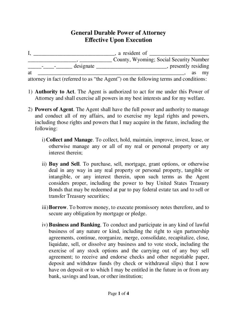 Wyoming Power Of Attorney Form Free Templates In Pdf