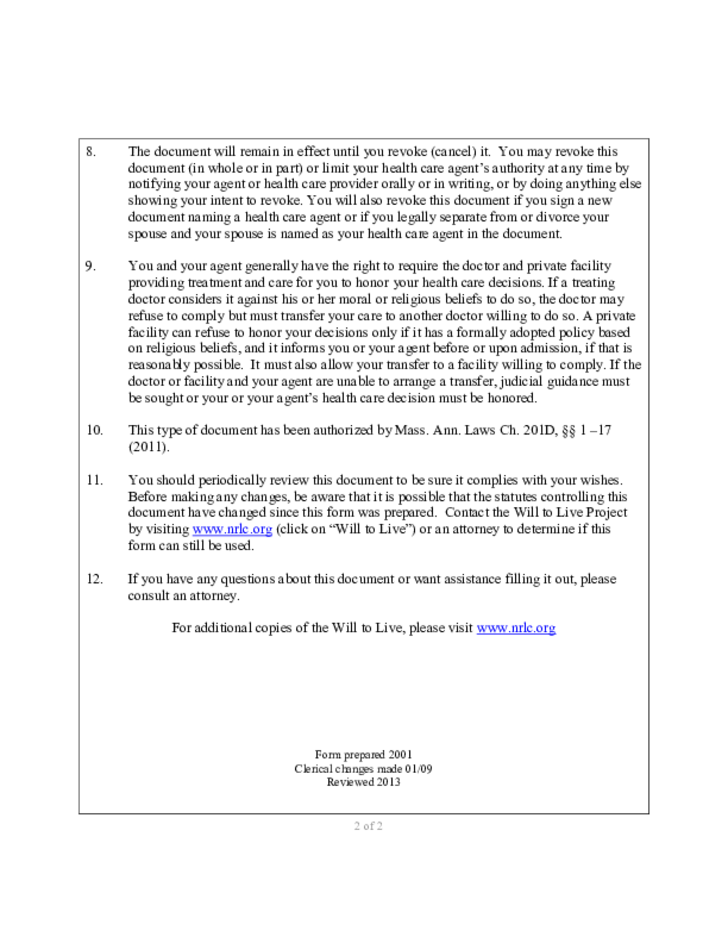 Durable Power Of Attorney Example Massachusetts Free Download