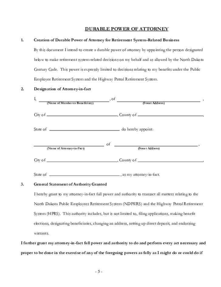 Durable Power of Attorney Information Sheet - North Dakota