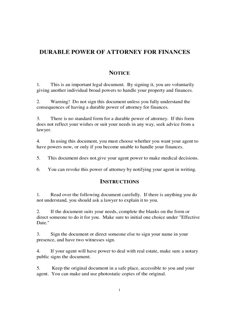 Durable power of attorney form 43 free templates in pdf word durable power of attorney for finances falaconquin