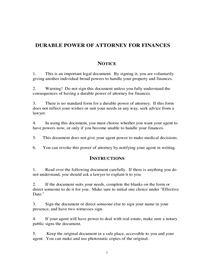Durable Power of Attorney for Finances