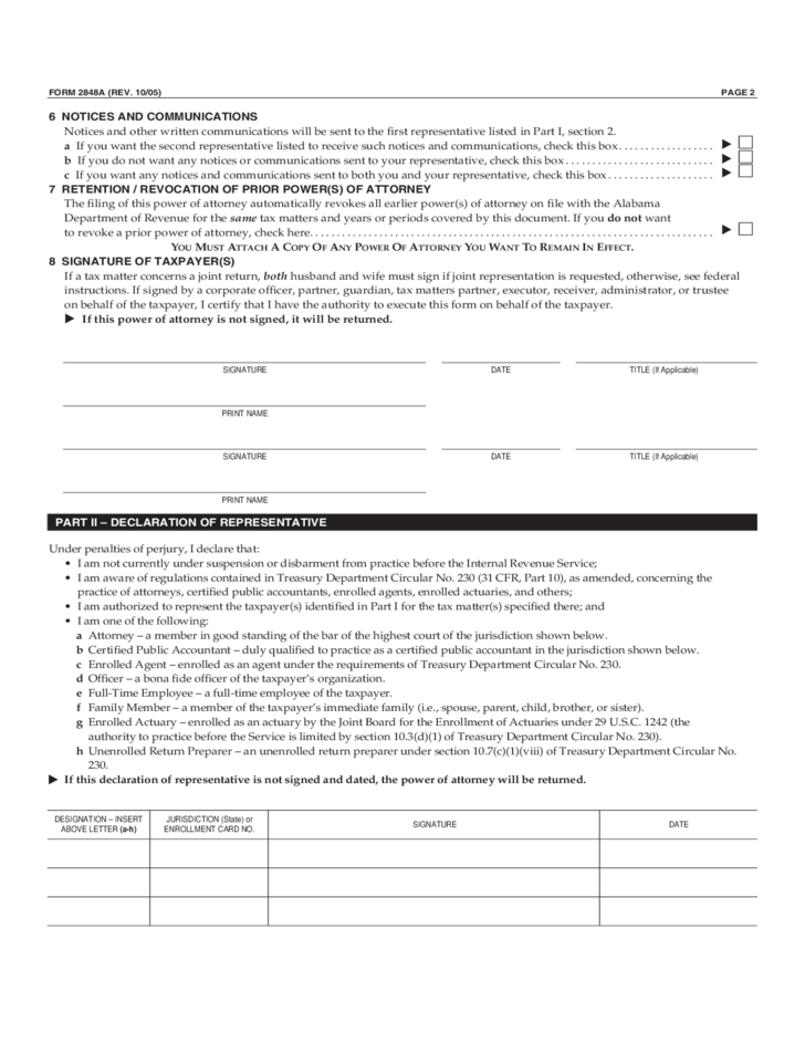 Form 2484 - Alabama Power of Attorney and Declaration of Representative
