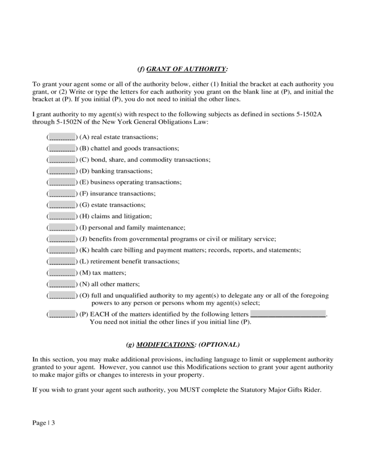 Power Of Attorney New York Statutory Short Form Free Download