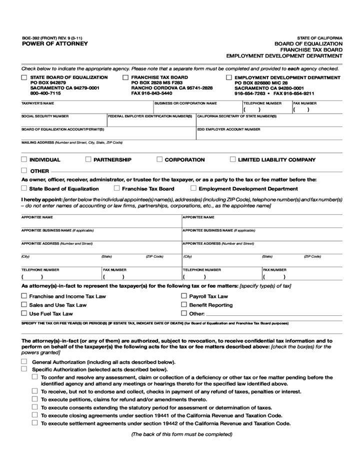 BOE-392 - California Power of Attorney Form Free Download